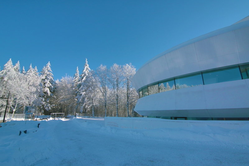 A composition in white: exterior view from the West in December 2012.