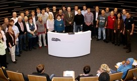 The HdA cooperates with a network of partner schools from all parts of Germany - in the development of educational resources as well as in the asteroid search project. Here, on October 25, 2010, new partner teachers are welcomed in the HdA's central Klaus Tschira Auditorium. Image: HdA/M. Pössel