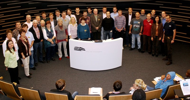 The HdA cooperates with a network of partner schools from all parts of Germany - in the development of educational resources as well as in the asteroid search project. Here, on October 25, 2010, new partner teachers are welcomed in the HdA's central Klaus Tschira Auditorium.