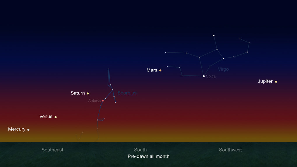 Alignment of the solar system planets in the night sky before sunrise by the end of January until mid-February 2016