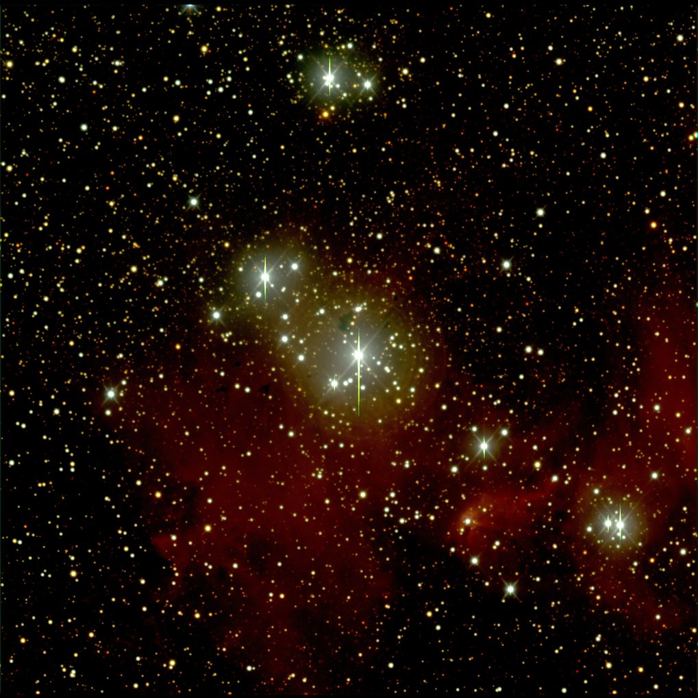 Color image of the open cluster IC 2944, observed by participants of Girls' Day 2017 at Haus der Astronomie, using a remote telescope owned and operated by Las Cumbres Observatory.