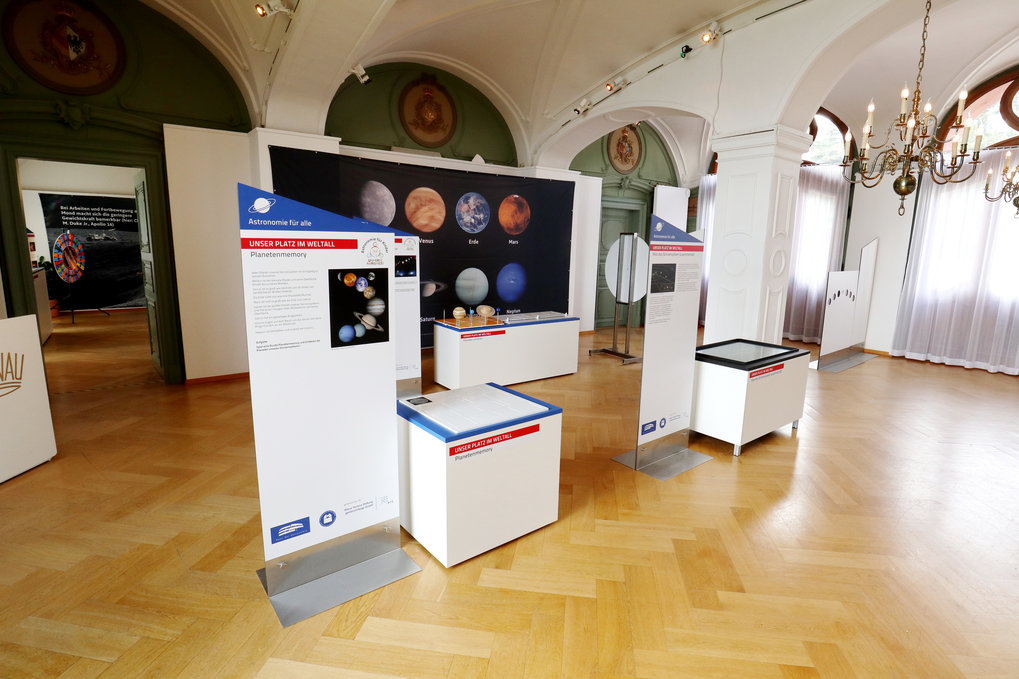 "Parts of the exhibition ""Astronomy for everybody"" in the ""Wappensaal"" (lit. hall of the coats-of-arms) in Mainau Castle"